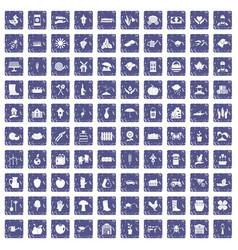 100 farm icons set grunge sapphire vector