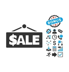 Sale label flat icon with bonus vector