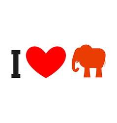 I love republican symbol of elephant and heart vector