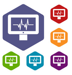 electrocardiogram monitor icons set vector image