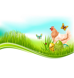 Easter template of paschal eggs and chicken vector