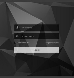 Dark creative login form template design with vector