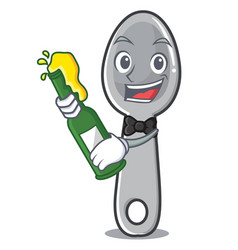 With beer spoon character cartoon style vector