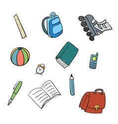 Colorful school carton items vector
