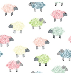 Seamless pattern with colored sheeps vector