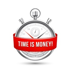 Stopwatch with red banner stating time is money vector