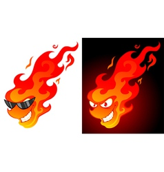 smiling cartoon fire ball vector image