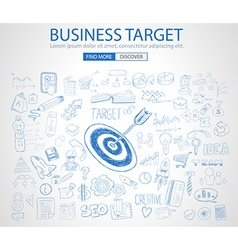 Business target concept with doodle design style vector