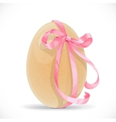 Yellow egg tied with a pink ribbon isolated on a vector