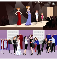 Fashion model banner set vector