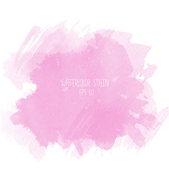 Pink watercolor stain on white background vector