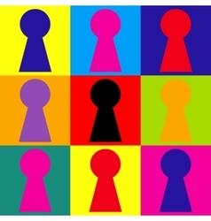 Keyhole sign pop-art style icons set vector