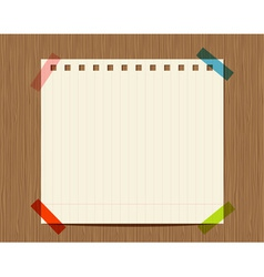 Lined paper of notebook on wooden wall insert your vector
