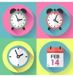 Alarm clock office clock and calendar with a date vector