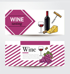 banners with wine bottle glass grapes cheese vector image