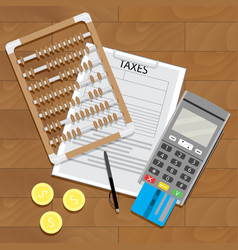 Business tax and banking paperwork vector