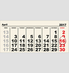 Calendar 16 april 2017 easter egg shape reminder vector