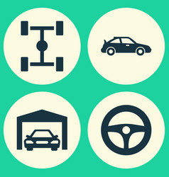 Car icons set collection of crossover wheelbase vector