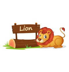 Cartoon zoo lion sign vector image