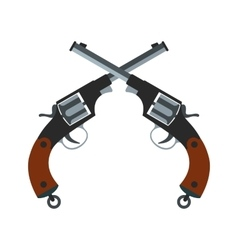 Crossed revolvers icon vector