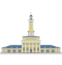 Fire watch old tower in kostroma city vector