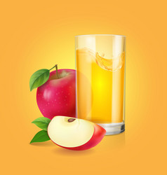 fresh apple juice in realistic transparent glass vector image