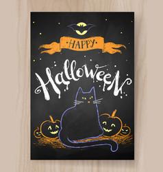 halloween postcard color chalked design vector image vector image