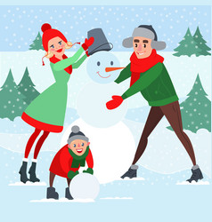 happy family making snowman winter holidays vector image