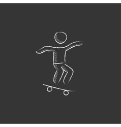 Man riding on skateboard Drawn in chalk icon vector image vector image
