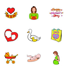 Mother day icons set cartoon style vector