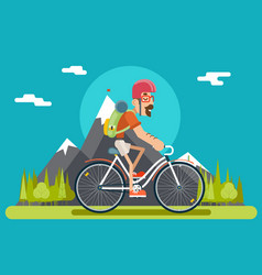 Mountain ride bicycle geek hipster ycling travel vector