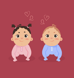 Newborn baby girl and boy sitting together vector