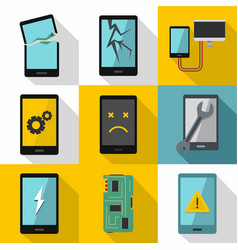 Phone diagnostics icon set flat style vector
