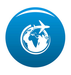 plane on earth icon blue vector image