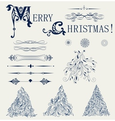 Set of element design for new year card vector image