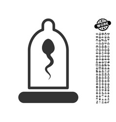 Sperm in condom icon with men bonus vector