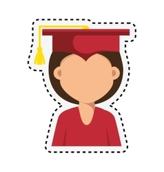 Student graduation with uniform icon vector