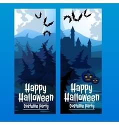Vertical blue cards with the spooky forest vector image vector image