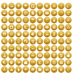 100 surfing icons set gold vector