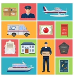 Post office flat icons vector