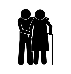 pictogram elderly couple with walking stick vector image