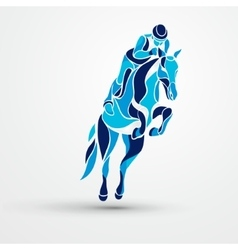 Horse race equestrian sport blue silhouette of vector