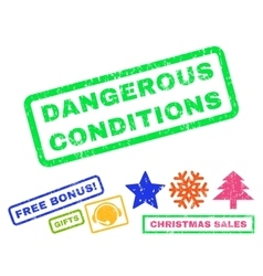 Dangerous conditions rubber stamp vector