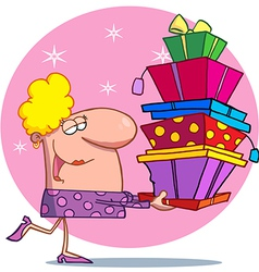 Holidays blond lady shopper vector