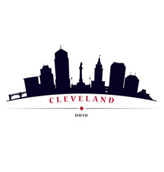 cleveland skyline black silhouette vector image