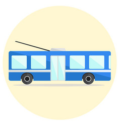 cute colorful flat trolley bus icon vector image