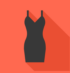 Sexy black dress icon with long shadow vector