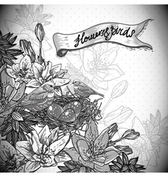 Vintage monochrome floral background with birds vector