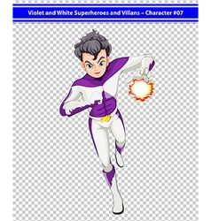 A violet and white superhero with a blazing power vector