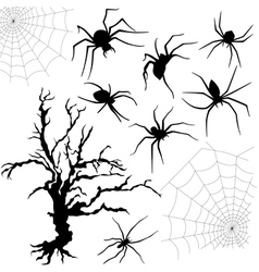 Halloween set of spiders nettings and dried tree vector image